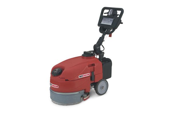 Compact pedestrian scrubber dryer 360mm brush width