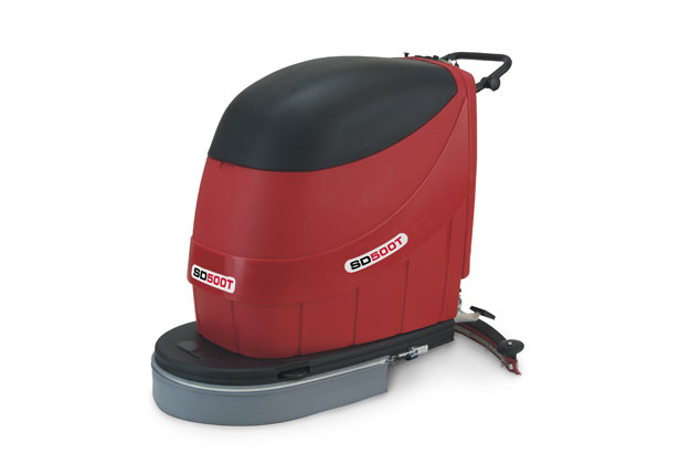 Commercial pedestrian scrubber dryer traction drive with a 500mm wide scrubbing brush