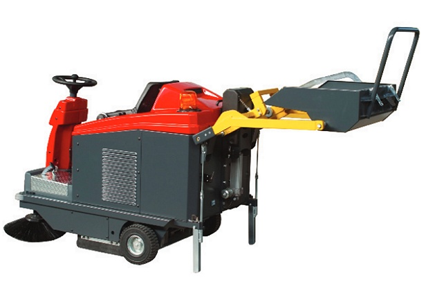 Professional ride on floor sweeper with optional hydraulic hopper system