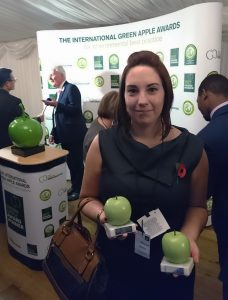 Claire picking up the awards on behalf of Morclean