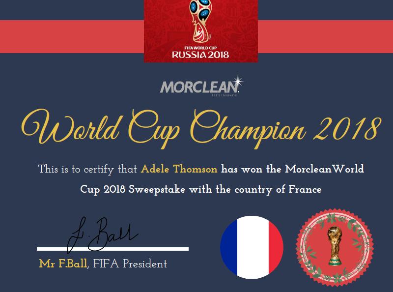 World Cup 2018 Sweepstake Morclean Winner